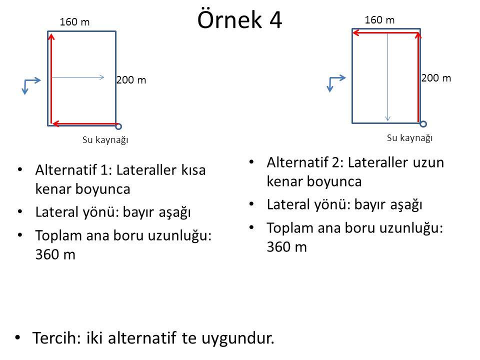 Örnek 4 Alternatif 1: Lateraller kısa kenar boyunca Lateral yönü: bayır aşağı Toplam ana boru uzunluğu: 360 m Alternatif 2: Lateraller uzun kenar boyu