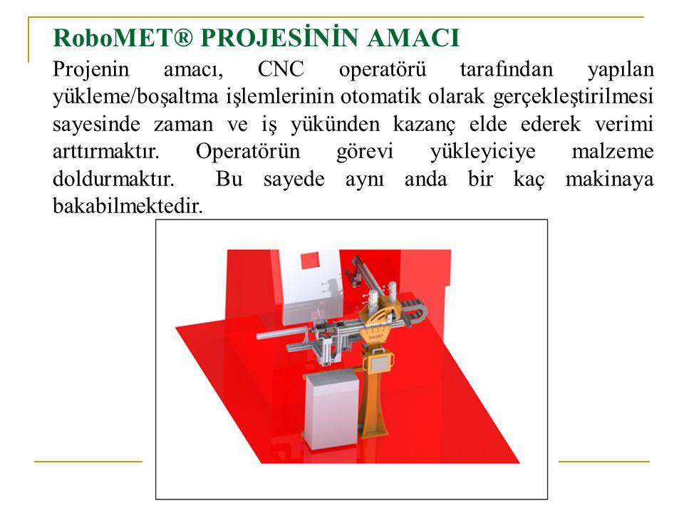 RoboMET® PROJESİNİN AMACI Projenin amacı, CNC operatörü tarafından yapılan yükleme/boşaltma işlemlerinin otomatik olarak gerçekleştirilmesi sayesinde