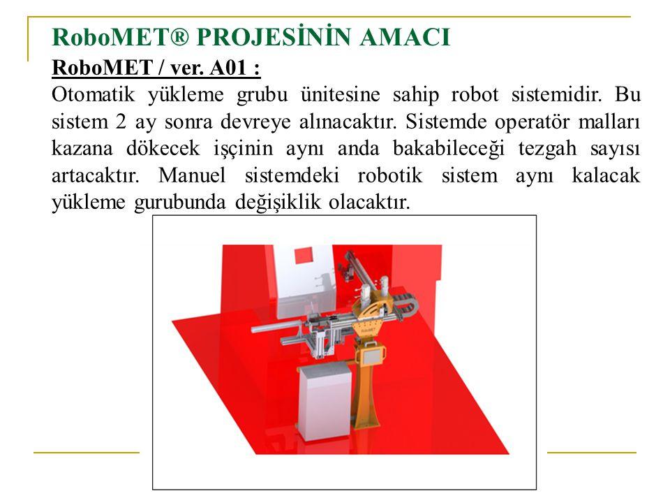 RoboMET® PROJESİNİN AMACI RoboMET / ver. A01 : Otomatik yükleme grubu ünitesine sahip robot sistemidir. Bu sistem 2 ay sonra devreye alınacaktır. Sist