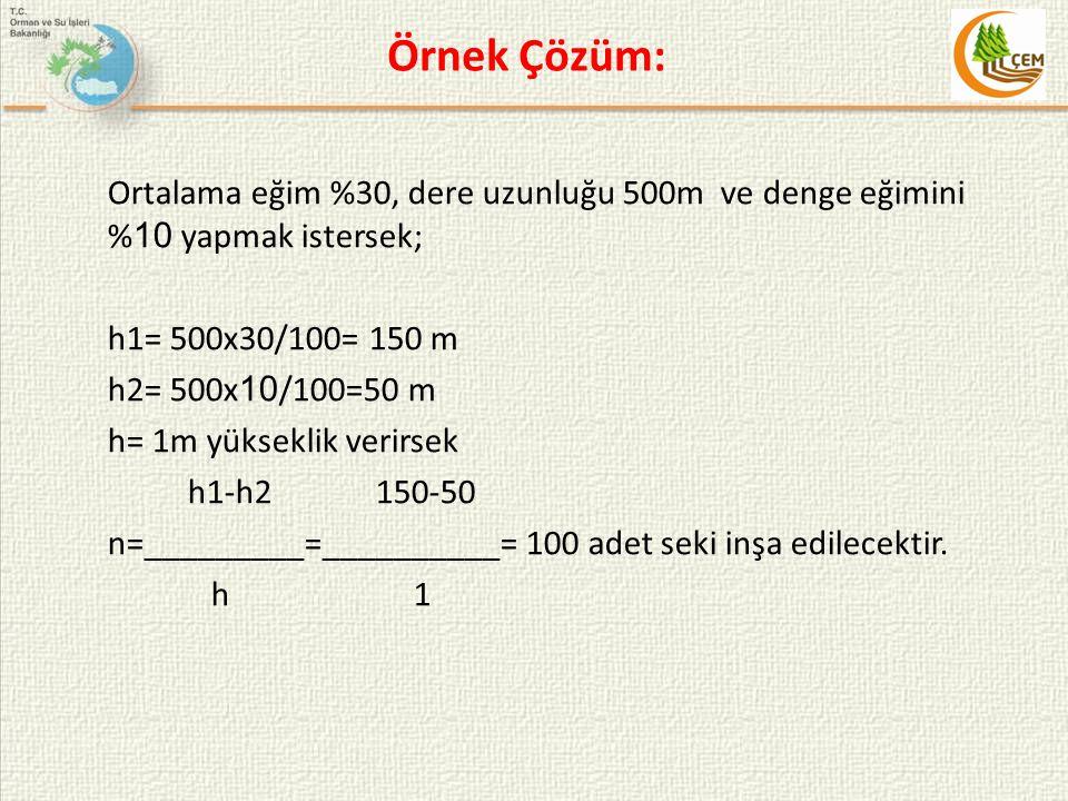 Örnek Çözüm: Ortalama eğim %30, dere uzunluğu 500m ve denge eğimini % 10 yapmak istersek; h1= 500x30/100= 150 m h2= 500x 10 /100=50 m h= 1m yükseklik