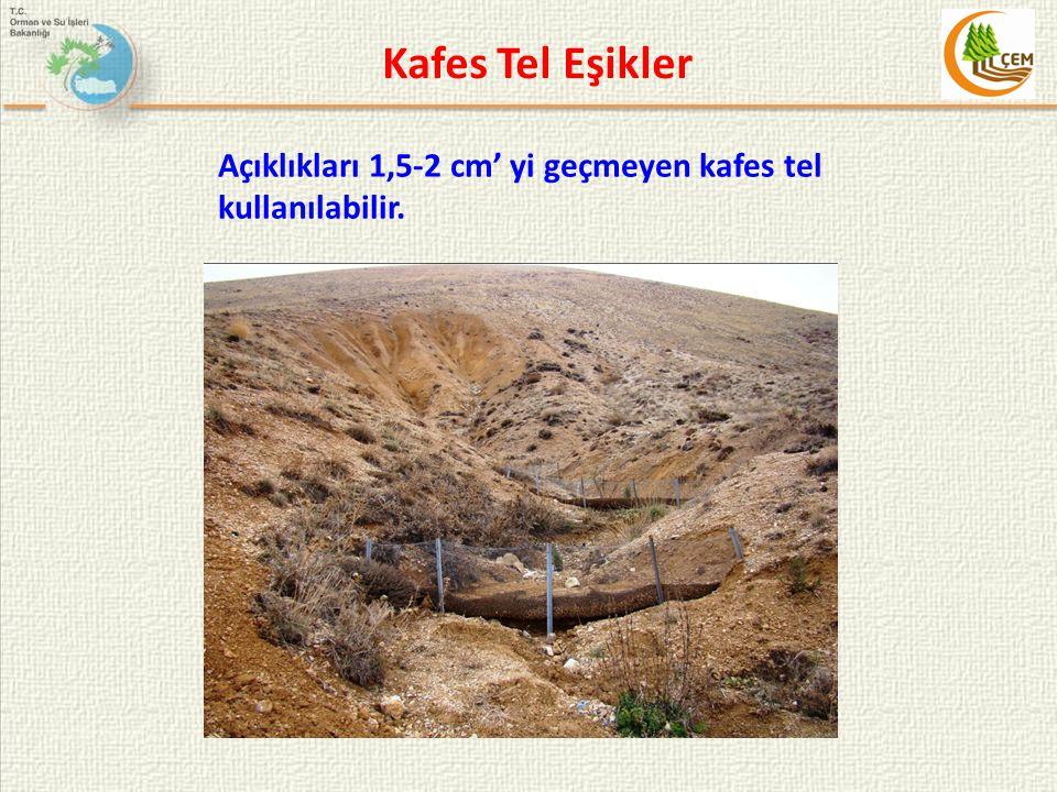 Kafes Tel Eşikler Açıklıkları 1,5-2 cm' yi geçmeyen kafes tel kullanılabilir.