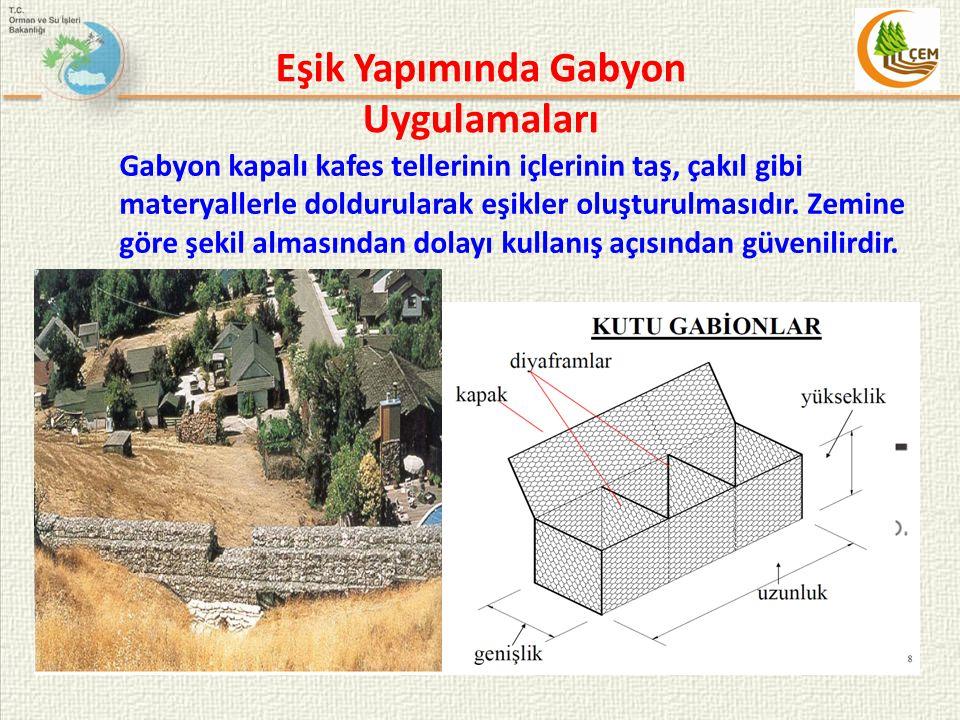 Eşik Yapımında Gabyon Uygulamaları Gabyon kapalı kafes tellerinin içlerinin taş, çakıl gibi materyallerle doldurularak eşikler oluşturulmasıdır. Zemin