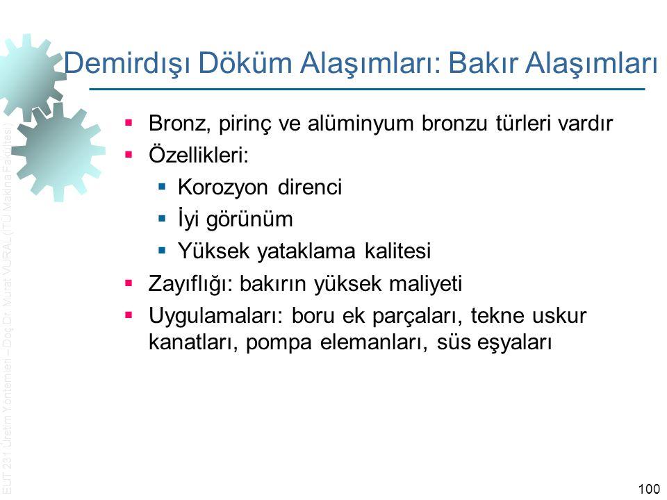 EUT 231 Üretim Yöntemleri – Doç.Dr. Murat VURAL (İTÜ Makina Fakültesi) 100 Demirdışı Döküm Alaşımları: Bakır Alaşımları  Bronz, pirinç ve alüminyum b