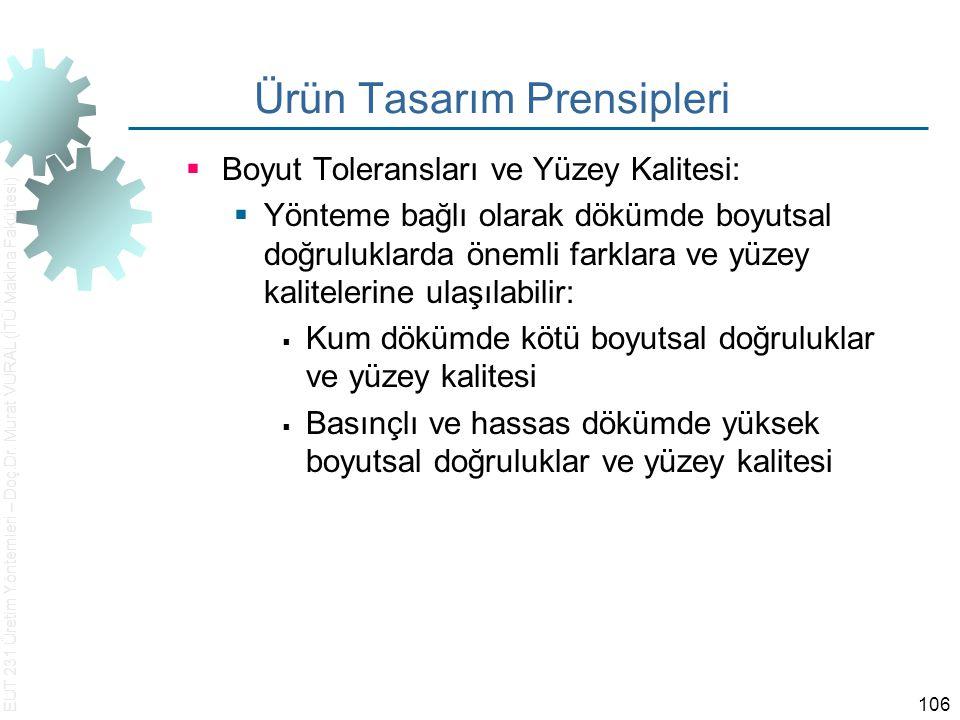 EUT 231 Üretim Yöntemleri – Doç.Dr. Murat VURAL (İTÜ Makina Fakültesi) 106 Ürün Tasarım Prensipleri  Boyut Toleransları ve Yüzey Kalitesi:  Yönteme