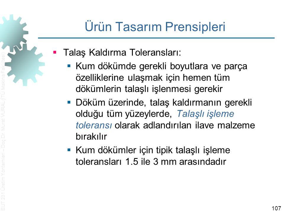 EUT 231 Üretim Yöntemleri – Doç.Dr. Murat VURAL (İTÜ Makina Fakültesi) 107 Ürün Tasarım Prensipleri  Talaş Kaldırma Toleransları:  Kum dökümde gerek