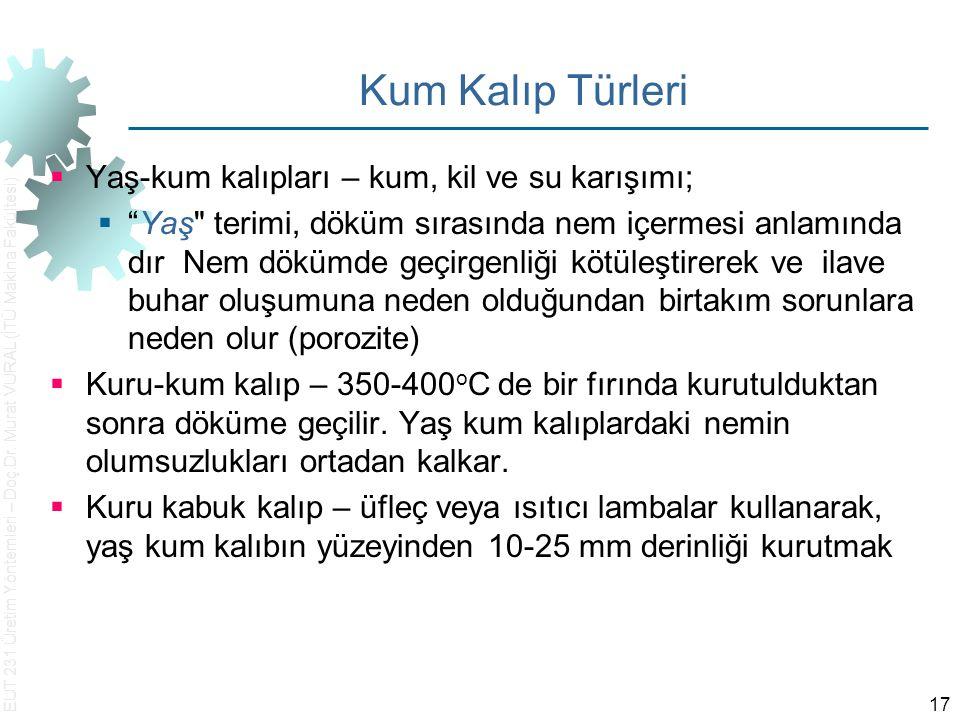 """EUT 231 Üretim Yöntemleri – Doç.Dr. Murat VURAL (İTÜ Makina Fakültesi) 17 Kum Kalıp Türleri  Yaş ‑ kum kalıpları – kum, kil ve su karışımı;  """"Yaş"""