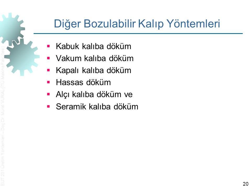 EUT 231 Üretim Yöntemleri – Doç.Dr. Murat VURAL (İTÜ Makina Fakültesi) 20 Diğer Bozulabilir Kalıp Yöntemleri  Kabuk kalıba döküm  Vakum kalıba döküm