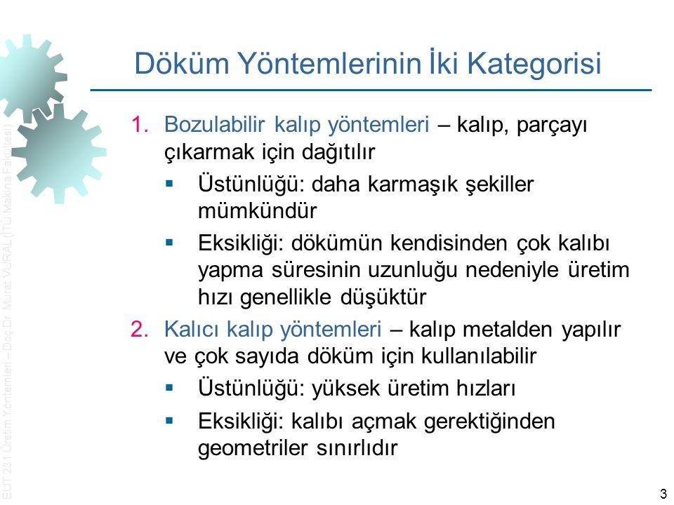 EUT 231 Üretim Yöntemleri – Doç.Dr. Murat VURAL (İTÜ Makina Fakültesi) 3 Döküm Yöntemlerinin İki Kategorisi 1.Bozulabilir kalıp yöntemleri – kalıp, pa