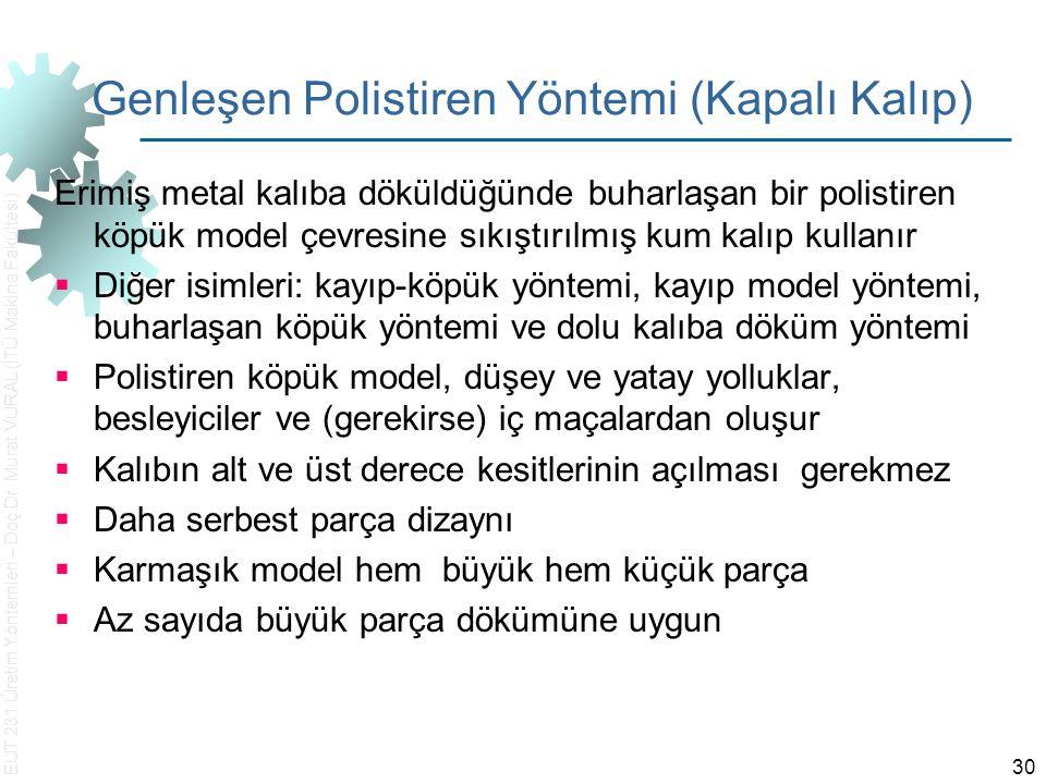 EUT 231 Üretim Yöntemleri – Doç.Dr. Murat VURAL (İTÜ Makina Fakültesi) 30 Genleşen Polistiren Yöntemi (Kapalı Kalıp) Erimiş metal kalıba döküldüğünde