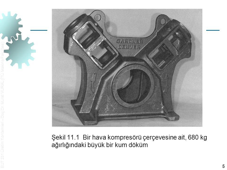 EUT 231 Üretim Yöntemleri – Doç.Dr. Murat VURAL (İTÜ Makina Fakültesi) 5 Şekil 11.1 Bir hava kompresörü çerçevesine ait, 680 kg ağırlığındaki büyük bi