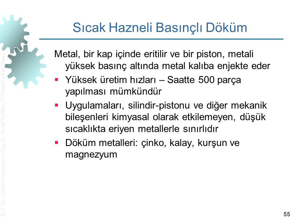 EUT 231 Üretim Yöntemleri – Doç.Dr. Murat VURAL (İTÜ Makina Fakültesi) 55 Sıcak Hazneli Basınçlı Döküm Metal, bir kap içinde eritilir ve bir piston, m
