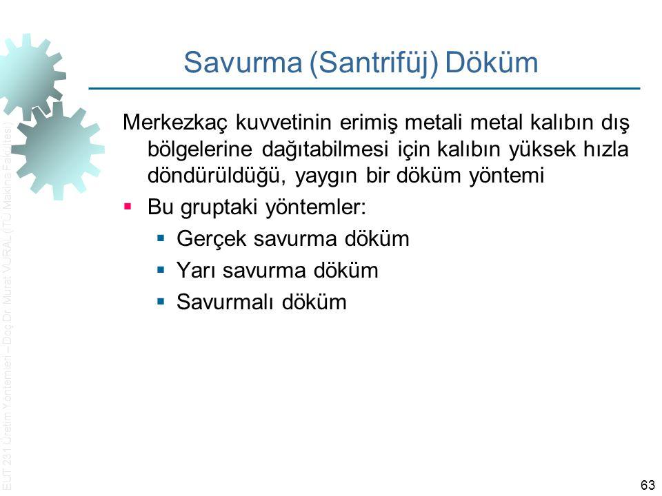 EUT 231 Üretim Yöntemleri – Doç.Dr. Murat VURAL (İTÜ Makina Fakültesi) 63 Savurma (Santrifüj) Döküm Merkezkaç kuvvetinin erimiş metali metal kalıbın d