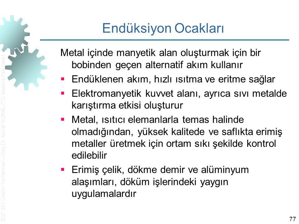 EUT 231 Üretim Yöntemleri – Doç.Dr. Murat VURAL (İTÜ Makina Fakültesi) 77 Endüksiyon Ocakları Metal içinde manyetik alan oluşturmak için bir bobinden
