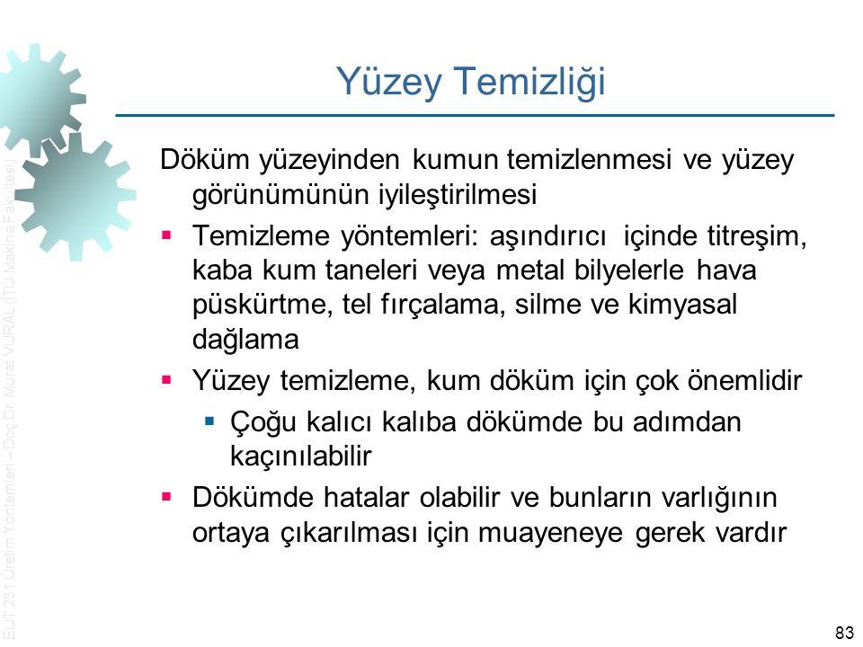 EUT 231 Üretim Yöntemleri – Doç.Dr. Murat VURAL (İTÜ Makina Fakültesi) 83 Yüzey Temizliği Döküm yüzeyinden kumun temizlenmesi ve yüzey görünümünün iyi
