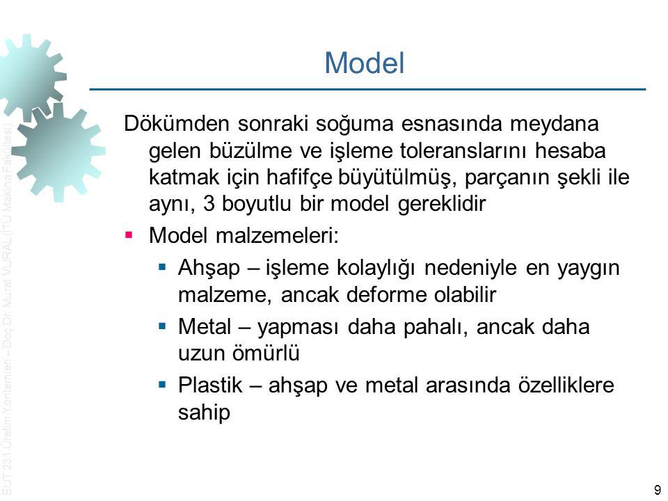 EUT 231 Üretim Yöntemleri – Doç.Dr. Murat VURAL (İTÜ Makina Fakültesi) 9 Model Dökümden sonraki soğuma esnasında meydana gelen büzülme ve işleme toler