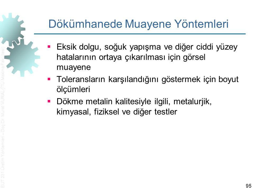 EUT 231 Üretim Yöntemleri – Doç.Dr. Murat VURAL (İTÜ Makina Fakültesi) 95 Dökümhanede Muayene Yöntemleri  Eksik dolgu, soğuk yapışma ve diğer ciddi y
