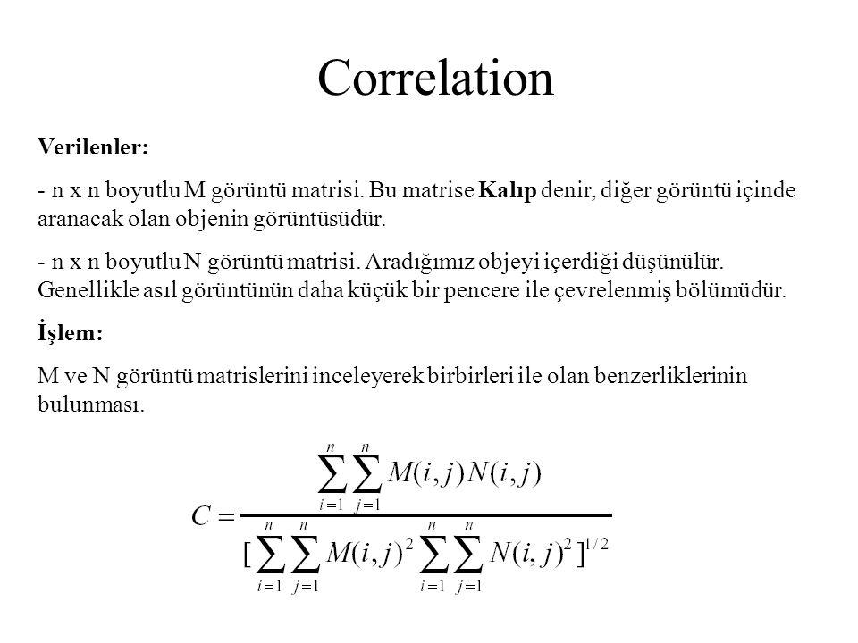Correlation Verilenler: - n x n boyutlu M görüntü matrisi. Bu matrise Kalıp denir, diğer görüntü içinde aranacak olan objenin görüntüsüdür. - n x n bo