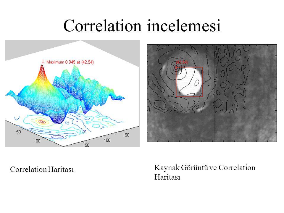 Correlation incelemesi Correlation Haritası Kaynak Görüntü ve Correlation Haritası