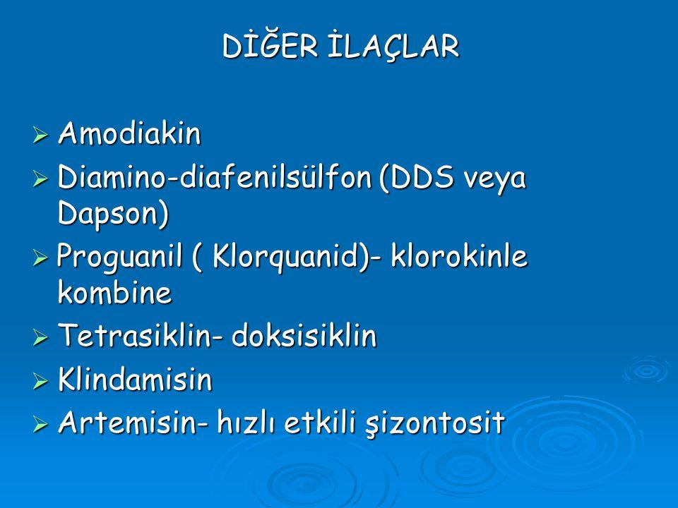 DİĞER İLAÇLAR DİĞER İLAÇLAR  Amodiakin  Diamino-diafenilsülfon (DDS veya Dapson)  Proguanil ( Klorquanid)- klorokinle kombine  Tetrasiklin- doksis