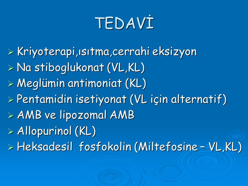 TEDAVİ  Kriyoterapi,ısıtma,cerrahi eksizyon  Na stiboglukonat (VL,KL)  Meglümin antimoniat (KL)  Pentamidin isetiyonat (VL için alternatif)  AMB