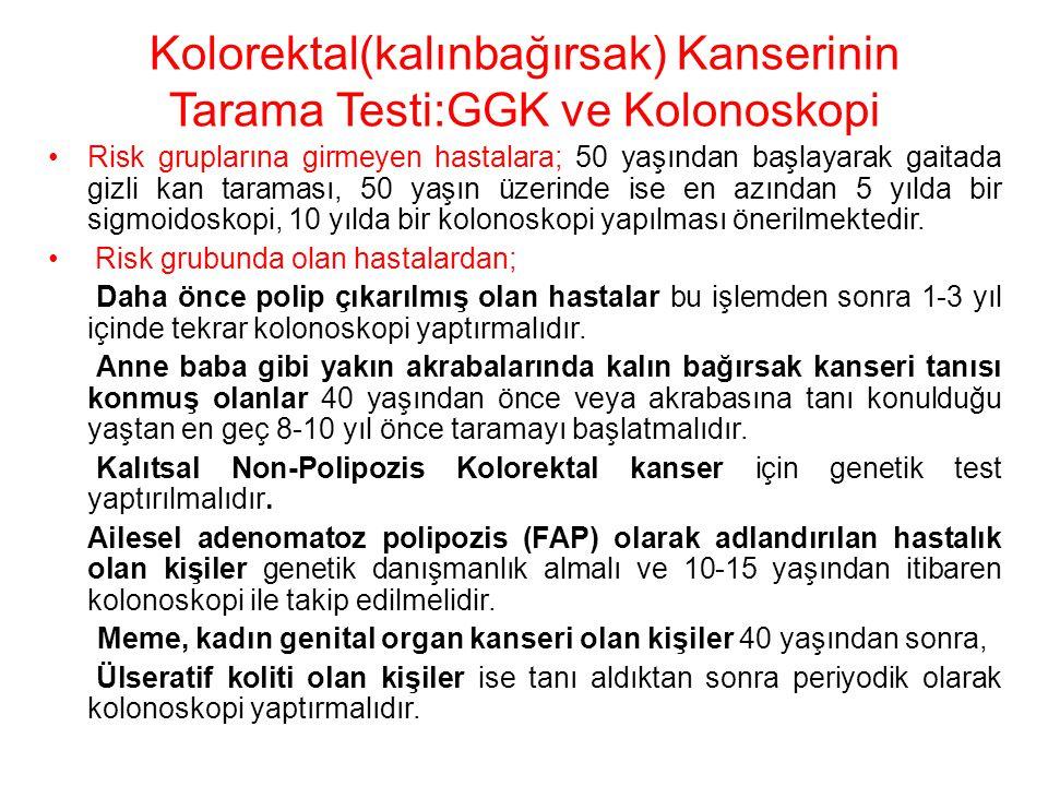 Kolorektal(kalınbağırsak) Kanserinin Tarama Testi:GGK ve Kolonoskopi Risk gruplarına girmeyen hastalara; 50 yaşından başlayarak gaitada gizli kan tara