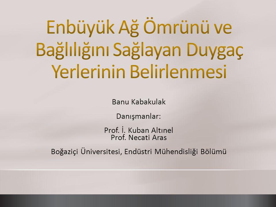 Banu Kabakulak Danışmanlar: Prof. İ. Kuban Altınel Prof. Necati Aras Boğaziçi Üniversitesi, Endüstri Mühendisliği Bölümü
