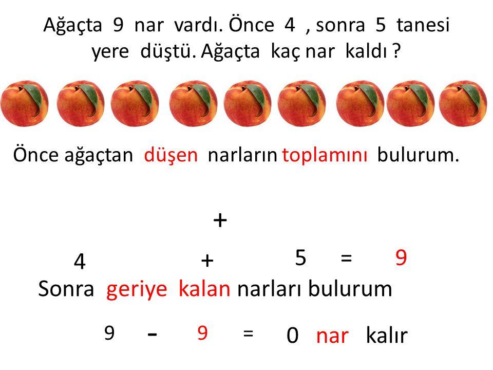 Ağaçta 9 nar vardı. Önce 4, sonra 5 tanesi yere düştü. Ağaçta kaç nar kaldı ? Önce ağaçtan düşen narların toplamını bulurum. + 4 + 5 =9 Sonra geriye k