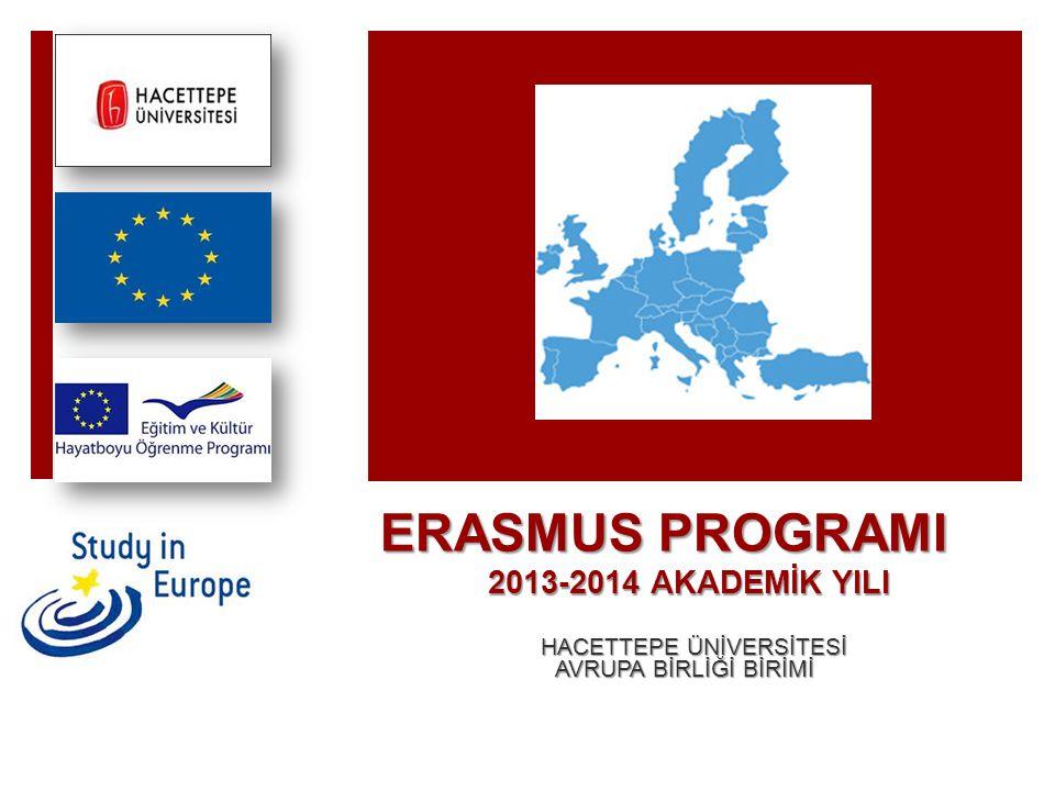 ERASMUS PROGRAMI 2013-2014 AKADEMİK YILI HACETTEPE ÜNİVERSİTESİ HACETTEPE ÜNİVERSİTESİ AVRUPA BİRLİĞİ BİRİMİ