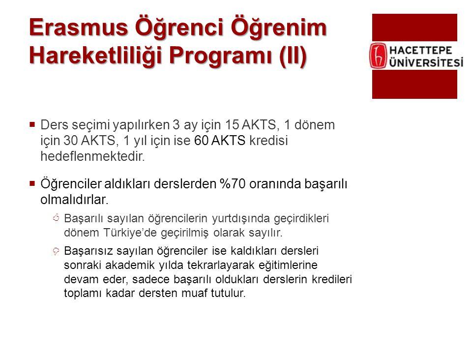 Erasmus Öğrenci Öğrenim Hareketliliği Programı (II)  Ders seçimi yapılırken 3 ay için 15 AKTS, 1 dönem için 30 AKTS, 1 yıl için ise 60 AKTS kredisi h