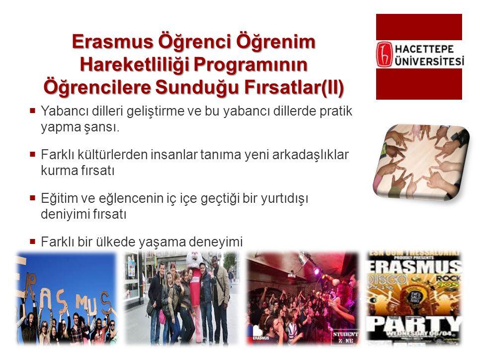 Erasmus Öğrenci Öğrenim Hareketliliği Programının Öğrencilere Sunduğu Fırsatlar(II)  Yabancı dilleri geliştirme ve bu yabancı dillerde pratik yapma ş