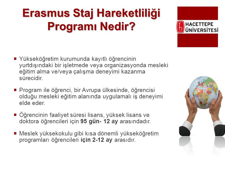Erasmus Staj Hareketliliği Programı Nedir?  Yükseköğretim kurumunda kayıtlı öğrencinin yurtdışındaki bir işletmede veya organizasyonda mesleki eğitim