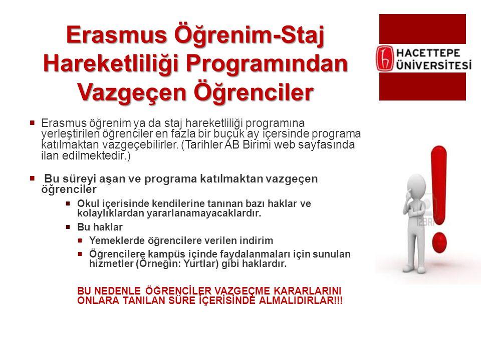 Erasmus Öğrenim-Staj Hareketliliği Programından Vazgeçen Öğrenciler  Erasmus öğrenim ya da staj hareketliliği programına yerleştirilen öğrenciler en
