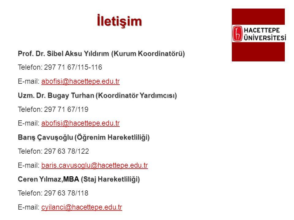 İletişim Prof. Dr. Sibel Aksu Yıldırım (Kurum Koordinatörü) Telefon: 297 71 67/115-116 E-mail: abofisi@hacettepe.edu.trabofisi@hacettepe.edu.tr Uzm. D