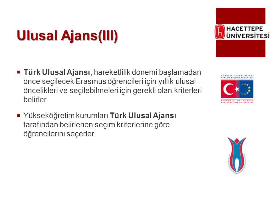 Ulusal Ajans(III)  Türk Ulusal Ajansı, hareketlilik dönemi başlamadan önce seçilecek Erasmus öğrencileri için yıllık ulusal öncelikleri ve seçilebilm