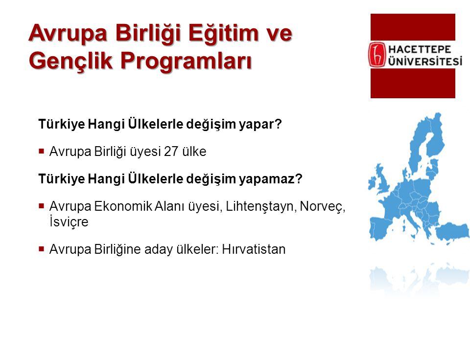 Avrupa Birliği Eğitim ve Gençlik Programları Türkiye Hangi Ülkelerle değişim yapar?  Avrupa Birliği üyesi 27 ülke Türkiye Hangi Ülkelerle değişim yap