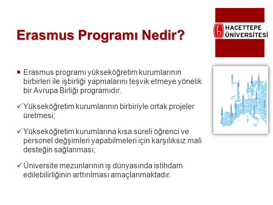 Erasmus Programı Nedir?  Erasmus programı yükseköğretim kurumlarının birbirleri ile işbirliği yapmalarını teşvik etmeye yönelik bir Avrupa Birliği pr