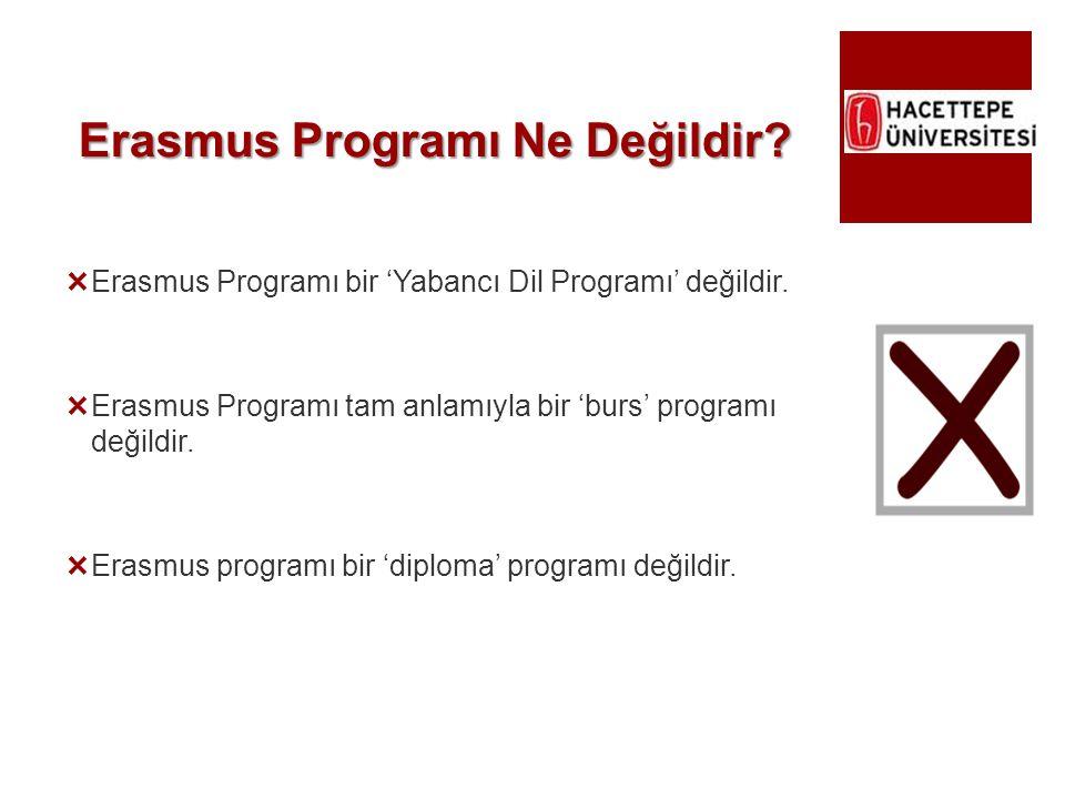 Erasmus Programı Ne Değildir?  Erasmus Programı bir 'Yabancı Dil Programı' değildir.  Erasmus Programı tam anlamıyla bir 'burs' programı değildir. 