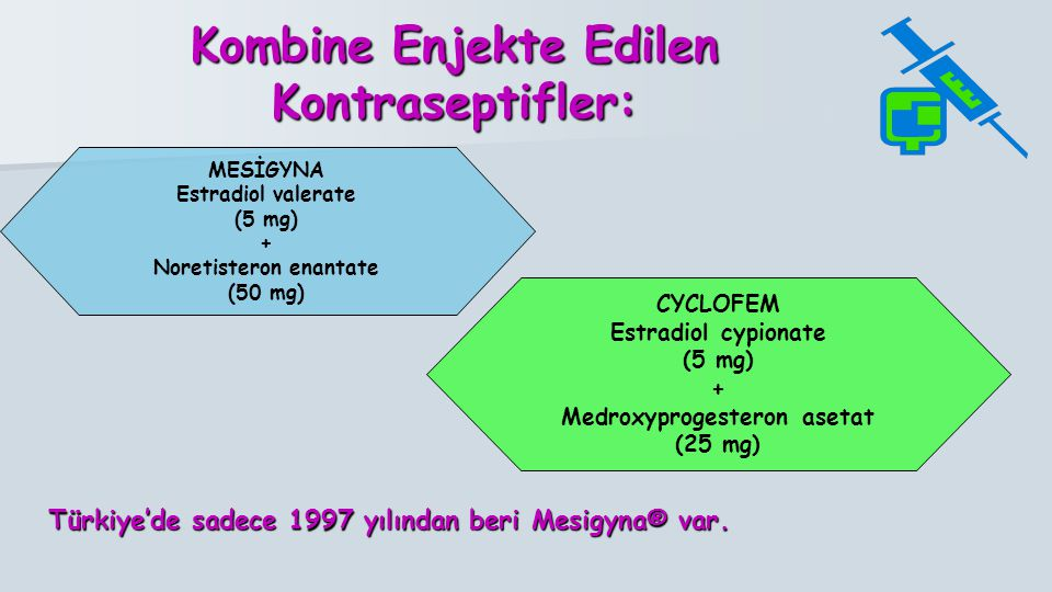 Kombine Enjekte Edilen Kontraseptifler: Türkiye'de sadece 1997 yılından beri Mesigyna® var. MESİGYNA Estradiol valerate (5 mg) + Noretisteron enantate