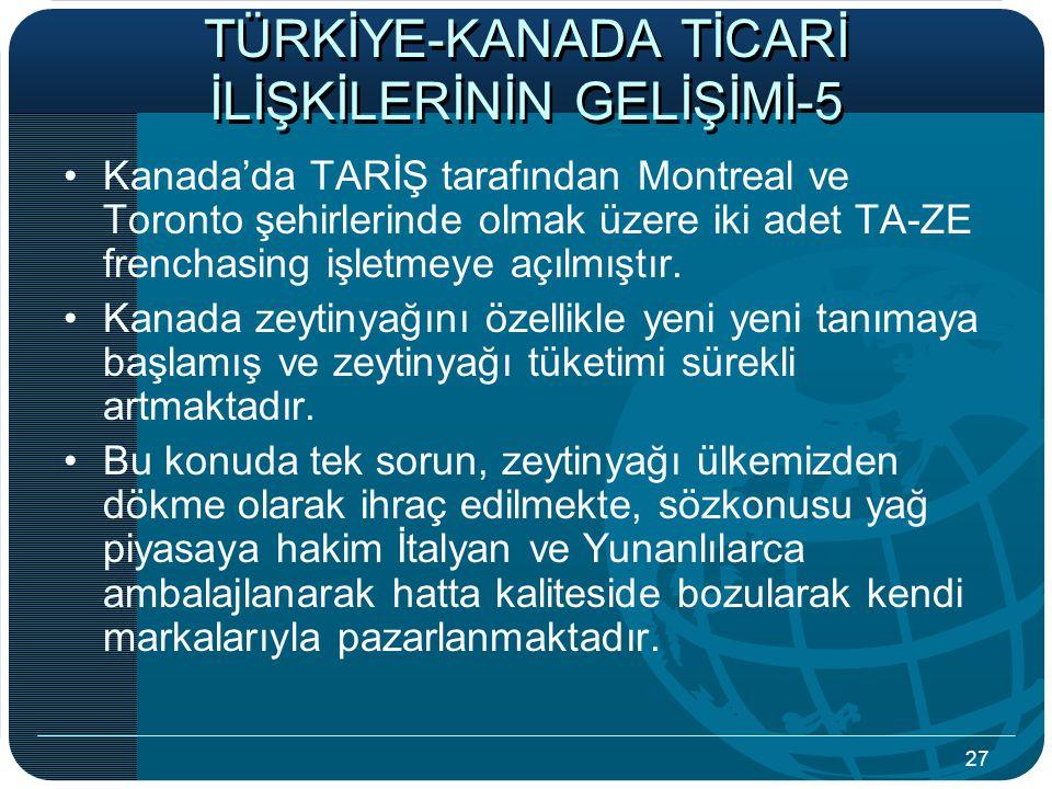 27 TÜRKİYE-KANADA TİCARİ İLİŞKİLERİNİN GELİŞİMİ-5 Kanada'da TARİŞ tarafından Montreal ve Toronto şehirlerinde olmak üzere iki adet TA-ZE frenchasing işletmeye açılmıştır.