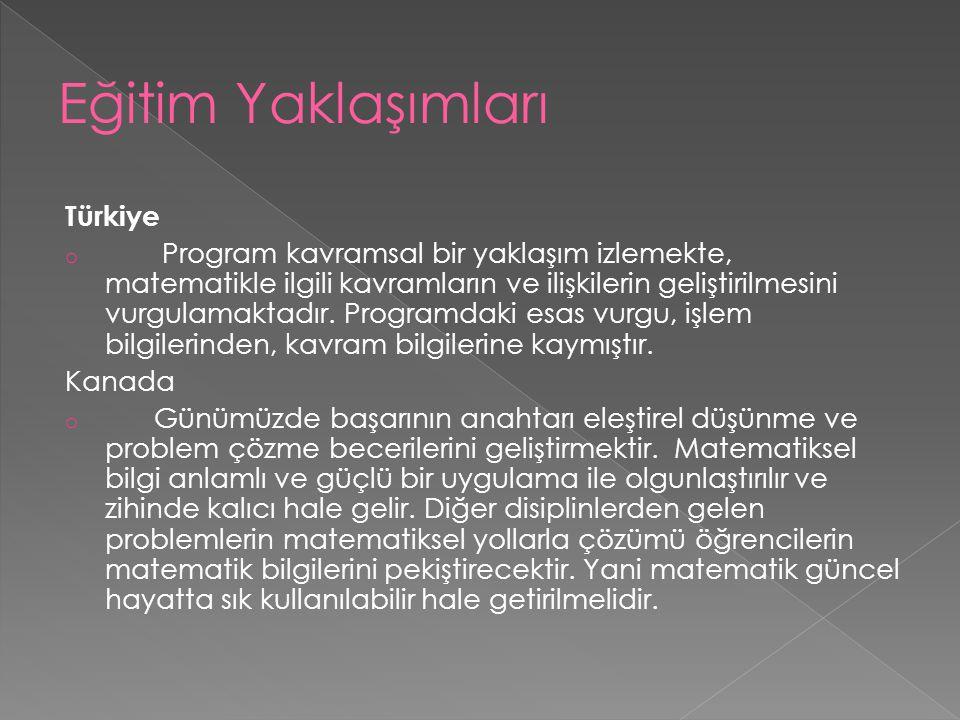 Türkiye o Program kavramsal bir yaklaşım izlemekte, matematikle ilgili kavramların ve ilişkilerin geliştirilmesini vurgulamaktadır. Programdaki esas v