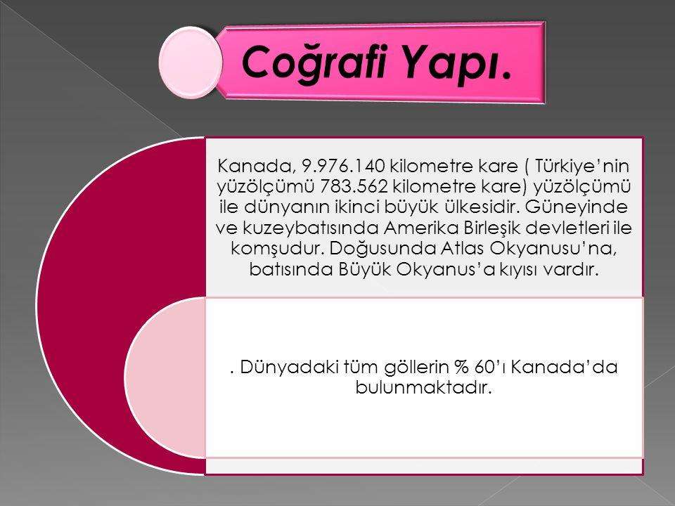 Kanada, 9.976.140 kilometre kare ( Türkiye'nin yüzölçümü 783.562 kilometre kare) yüzölçümü ile dünyanın ikinci büyük ülkesidir. Güneyinde ve kuzeybatı