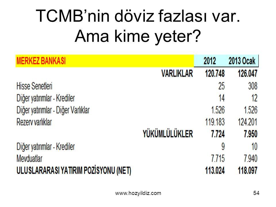 TCMB'nin döviz fazlası var. Ama kime yeter? www.hozyildiz.com54