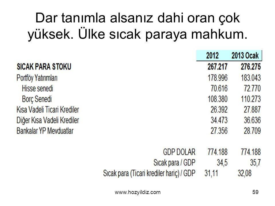 Dar tanımla alsanız dahi oran çok yüksek. Ülke sıcak paraya mahkum. www.hozyildiz.com59