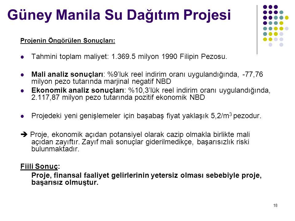 18 Güney Manila Su Dağıtım Projesi Projenin Öngörülen Sonuçları: Tahmini toplam maliyet: 1.369.5 milyon 1990 Filipin Pezosu. Mali analiz sonuçları: %9