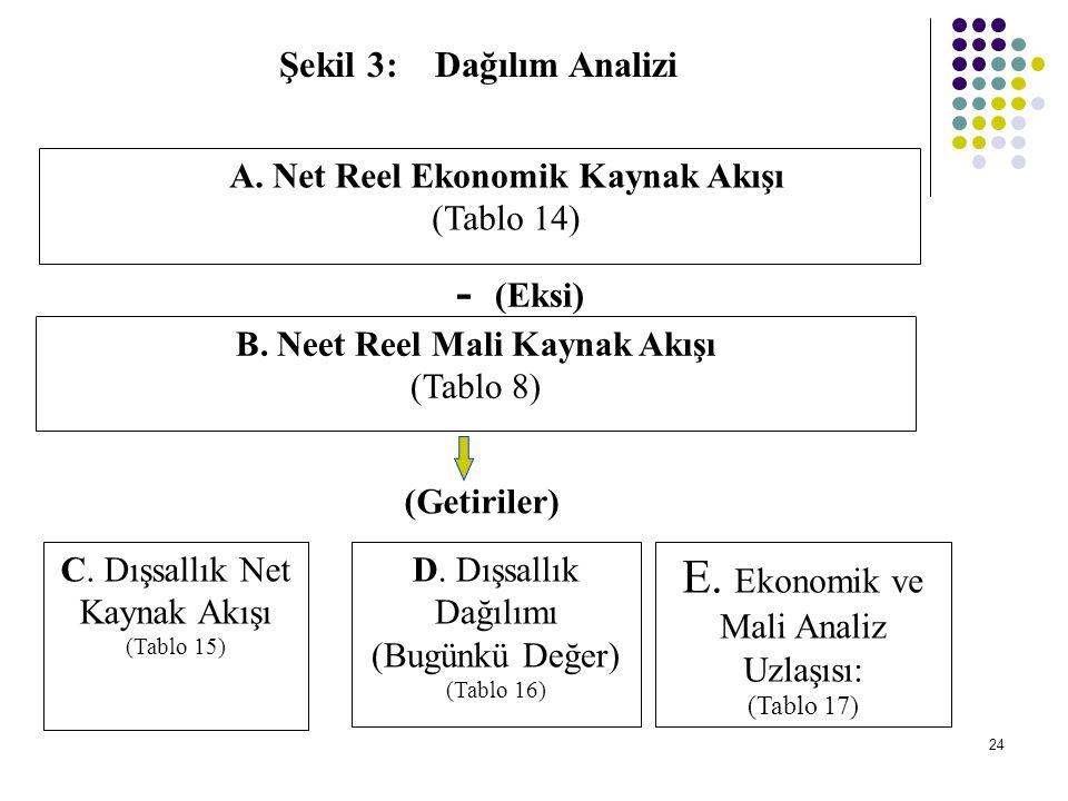 24 Şekil 3: Dağılım Analizi A. Net Reel Ekonomik Kaynak Akışı (Tablo 14) B. Neet Reel Mali Kaynak Akışı (Tablo 8) C. Dışsallık Net Kaynak Akışı (Tablo