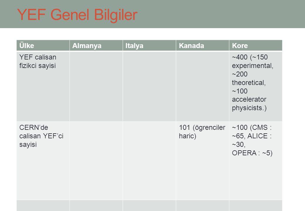 YEF Genel Bilgiler ÜlkeAlmanyaItalyaKanadaKore YEF calisan fizikci sayisi ~400 (~150 experimental, ~200 theoretical, ~100 accelerator physicists.) CER
