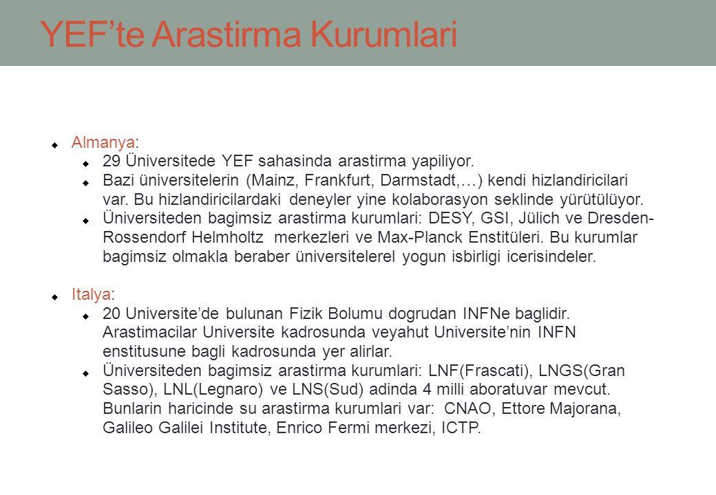 YEF'te Arastirma Kurumlari  Almanya:  29 Üniversitede YEF sahasinda arastirma yapiliyor.