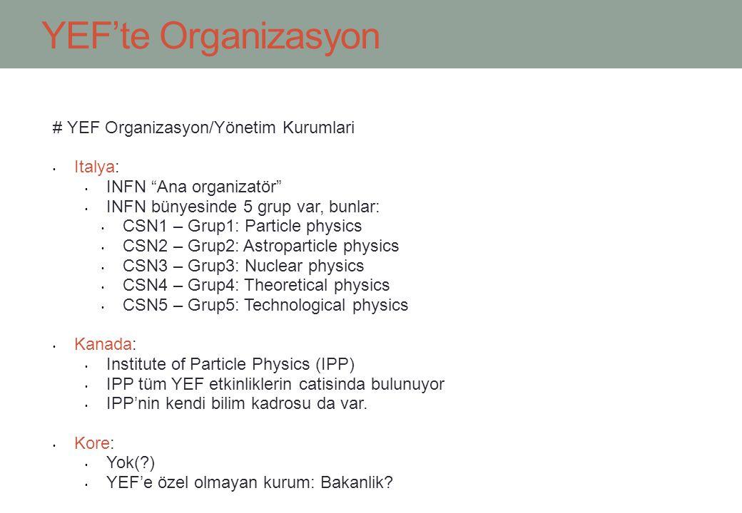 YEF'te Organizasyon # YEF Organizasyon/Yönetim Kurumlari Italya: INFN Ana organizatör INFN bünyesinde 5 grup var, bunlar: CSN1 – Grup1: Particle physics CSN2 – Grup2: Astroparticle physics CSN3 – Grup3: Nuclear physics CSN4 – Grup4: Theoretical physics CSN5 – Grup5: Technological physics Kanada: Institute of Particle Physics (IPP) IPP tüm YEF etkinliklerin catisinda bulunuyor IPP'nin kendi bilim kadrosu da var.