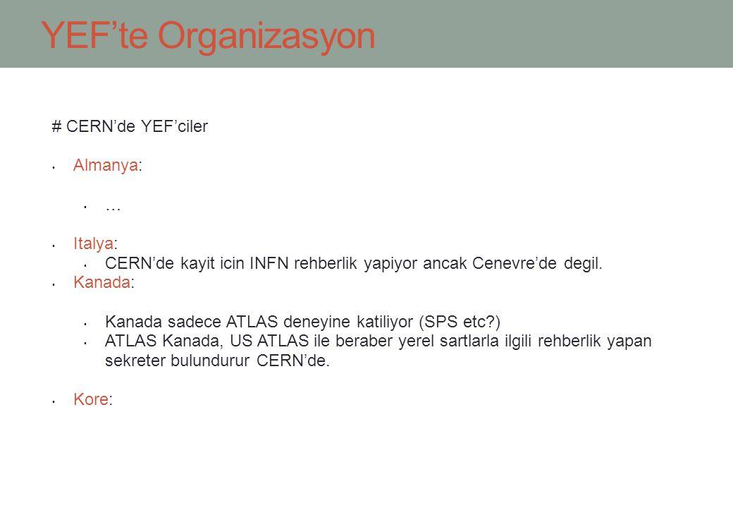 YEF'te Organizasyon # CERN'de YEF'ciler Almanya: … Italya: CERN'de kayit icin INFN rehberlik yapiyor ancak Cenevre'de degil.