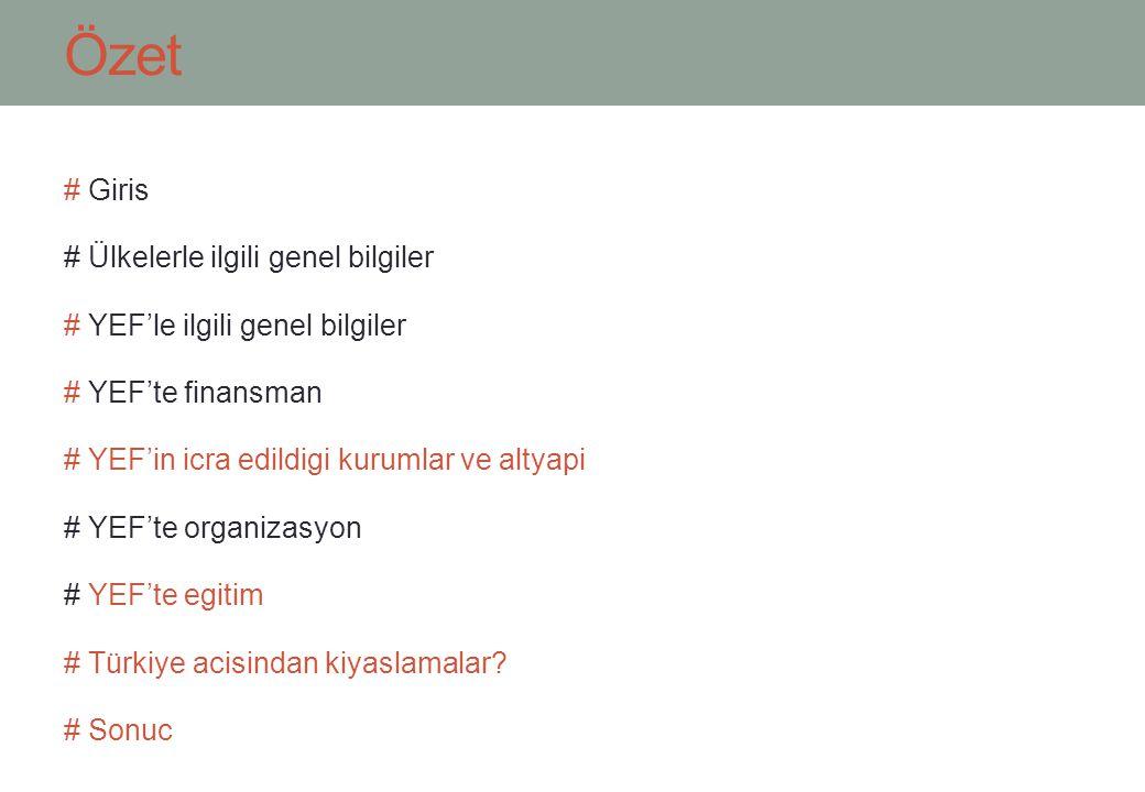 Özet # Giris # Ülkelerle ilgili genel bilgiler # YEF'le ilgili genel bilgiler # YEF'te finansman # YEF'in icra edildigi kurumlar ve altyapi # YEF'te organizasyon # YEF'te egitim # Türkiye acisindan kiyaslamalar.